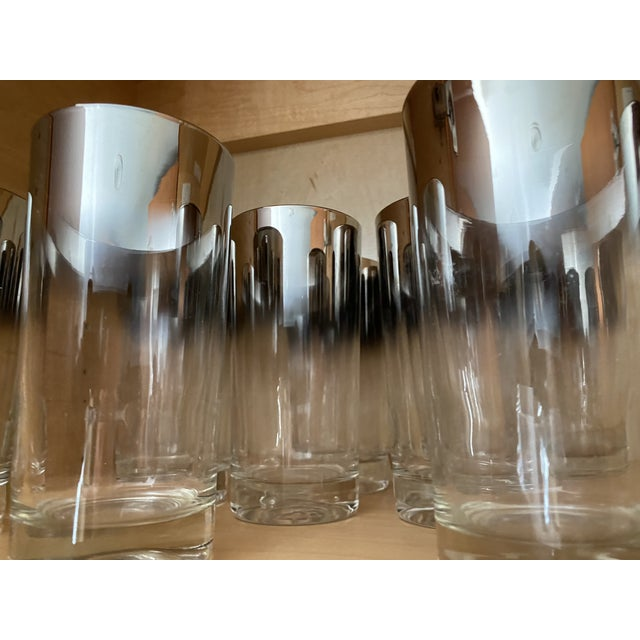 Silver Shade Down Cocktail Glasses & Ice Bucket - Set of 13 For Sale In Los Angeles - Image 6 of 9