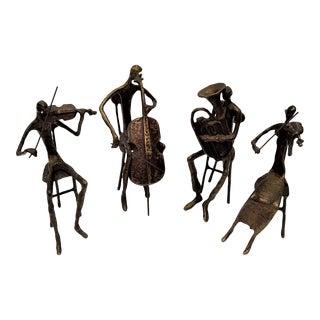 Late 20th Century Bernard Kim Musician Bronze Sculptures - Set of 4 For Sale