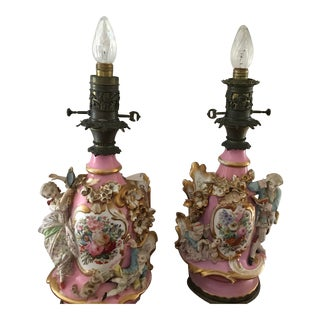 "1940s Vintage ""Old Paris"" French Porcelain Lamp Bases - a Pair For Sale"