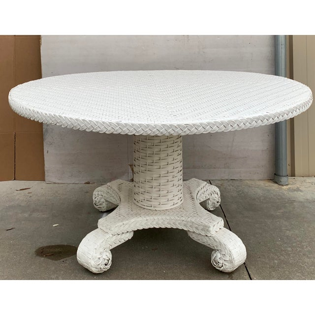 Large Round Wicker Pedestal Dining Table For Sale In Atlanta - Image 6 of 8