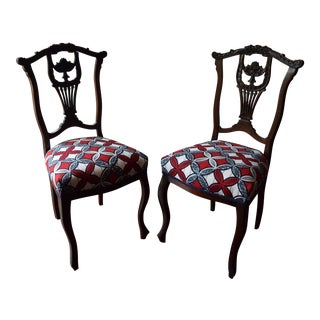Tribal Upholstered Edwardian Chairs - A Pair For Sale