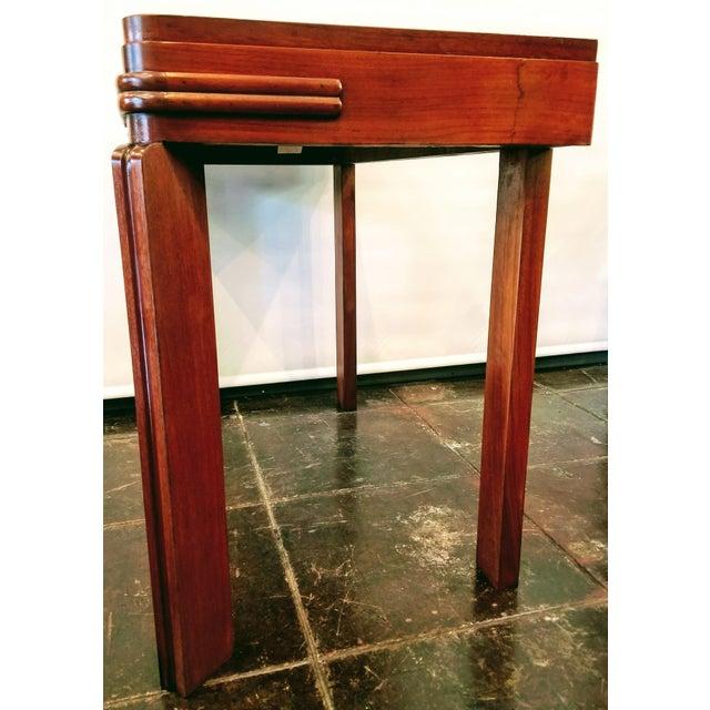 Streamline Art Deco Padauk Wood Writing Desk / Pier Table / Console Table For Sale - Image 4 of 6