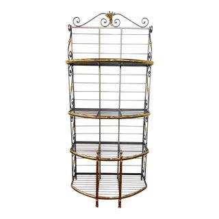 Hollywood Regency Four Tier Wrought Iron and Brass Bakers Rack or Shelves For Sale