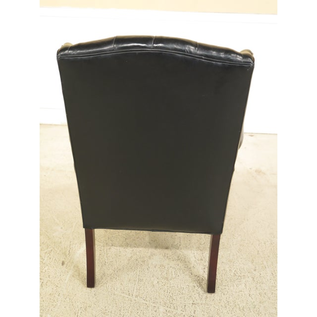 English Tranditional Black Tufted Leather Wing Chair and Ottoman For Sale - Image 10 of 13