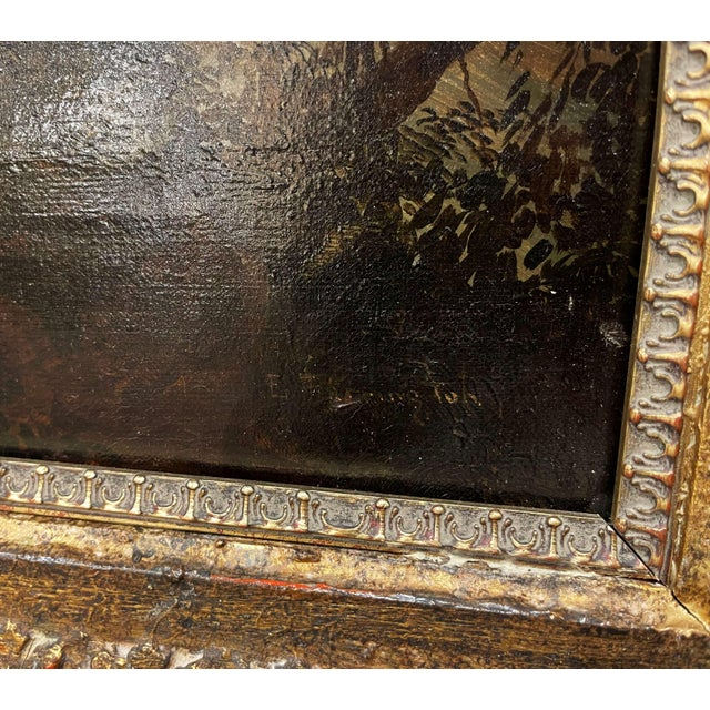 Mid 19th Century 19th Century French Oil on Canvas Pastoral Painting in Carved Gilt Frame Signed For Sale - Image 5 of 13
