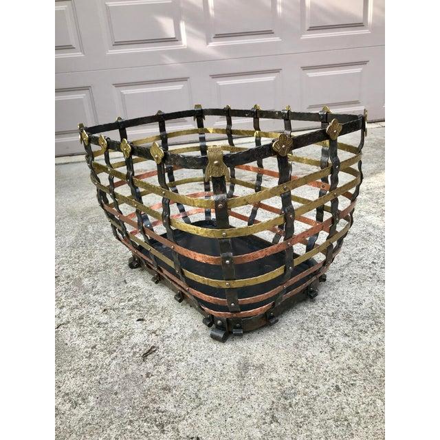 Mid 20th Century Vintage Mid Century Antonio Vignola Italy Storage / Fire Wood Basket For Sale - Image 5 of 13
