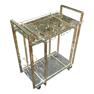 Hollywood Regency Brass Lacquer Bar Cart For Sale