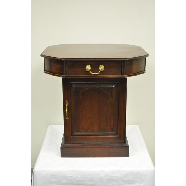 Chippendale Vintage Harden Solid Cherry Octagonal Storage Cabinet Occasional Side End Table For Sale - Image 3 of 11