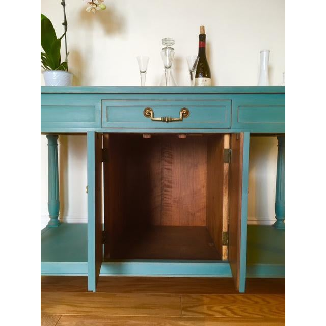 Thomasville Blue Wood Buffet / Server For Sale - Image 5 of 10