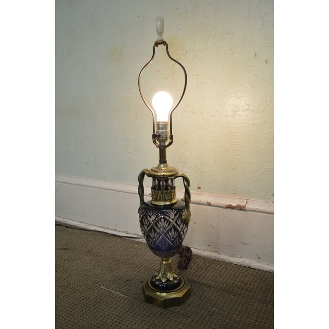 Bronze Bohemian Czech Ruby Red Crystal Cut to Clear Bronze Table Lamp For Sale - Image 7 of 13