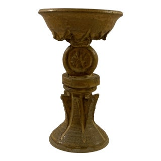Vintage Studio Art Pottery Pillar Candle Holder For Sale