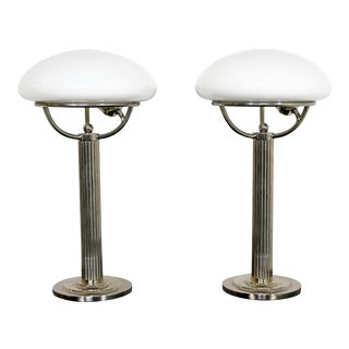 Early 20th Century 1910 Art Deco Chrome & Glass Table Lamps by Adolf Loos - a Pair For Sale