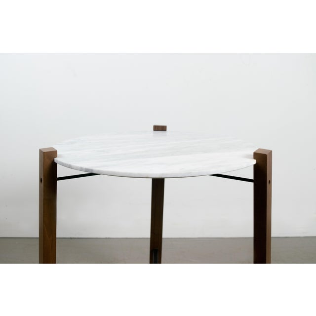 Minimalist Modern Teak and White Marble Side Table - Image 4 of 8