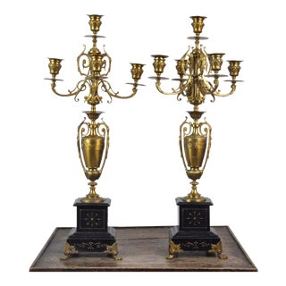 Antique 19th Century Pair of French Aesthetic Movement Napoleon Style Bronze & Marble Candelabras For Sale