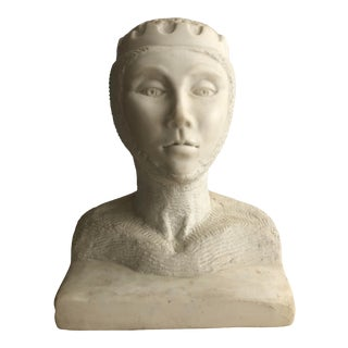 Marble Bust of a Medieval Lady For Sale