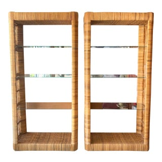 Pair Rattan Etageres From 70's For Sale