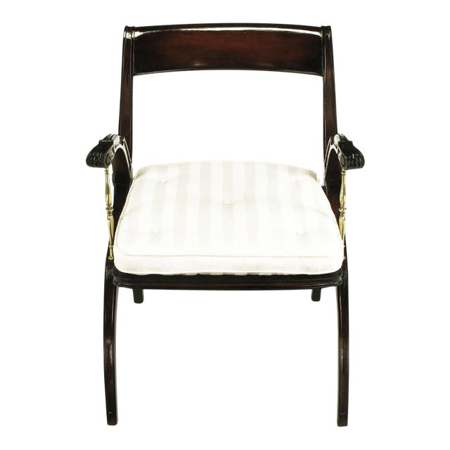 Mahogany and Brass Open-Back Armchair - Image 1 of 9