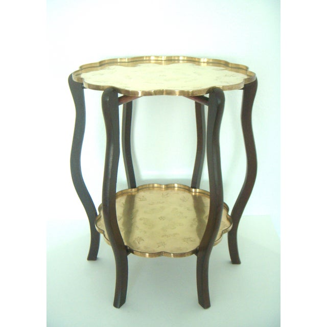 Asian Folding Vintage Chinese Two Tier Engraved Brass Side Tray Table With Good Fortune Bats For Sale - Image 3 of 8