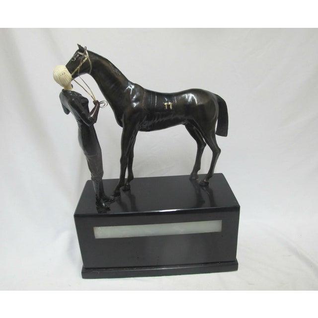 "Bronze Signed Ferdinand Preiss Art Deco Bronze ""Woman & Horse"" Statue For Sale - Image 8 of 8"