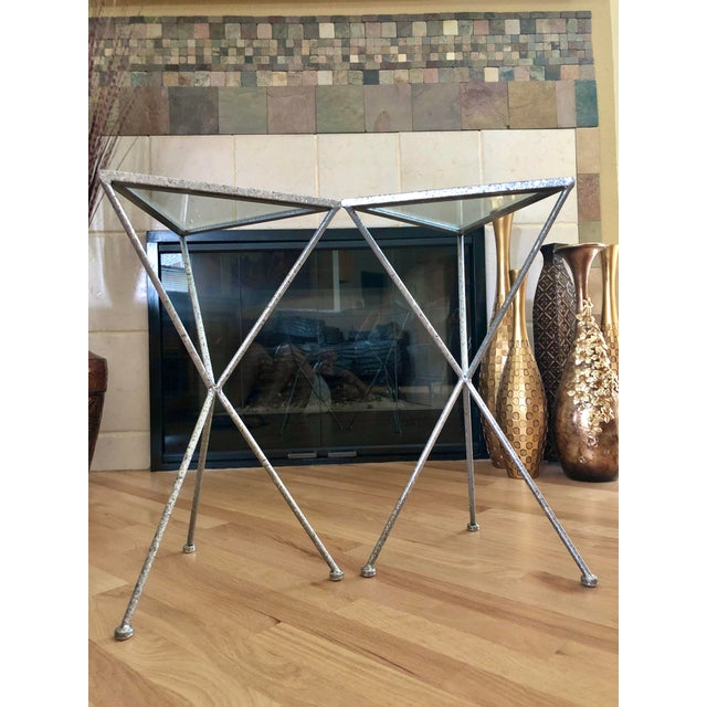2000 - 2009 Uttermost Modern Iron & Tempered Glass Tripod Accent Tables - a Pair For Sale - Image 5 of 13