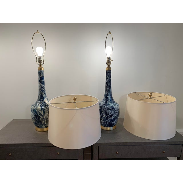 2010s Blue and White Table Lamps With Shades - a Pair For Sale - Image 5 of 8