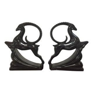 Royal Haeger Black Gazelle Statues - A Pair