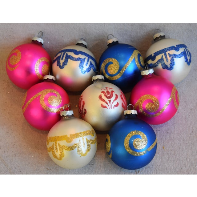Blue Vintage Colorful Christmas Ornaments W/Box - Set of 9 For Sale - Image 8 of 8