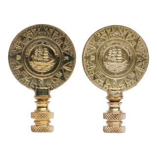 Brass Ship Lamp Finials - a Pair For Sale