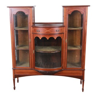 19th Century English Inlaid Mahogany Curved Glass Bookcase For Sale