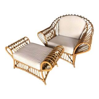 1980s Franco Albini Rattan Chair and Ottoman Set For Sale
