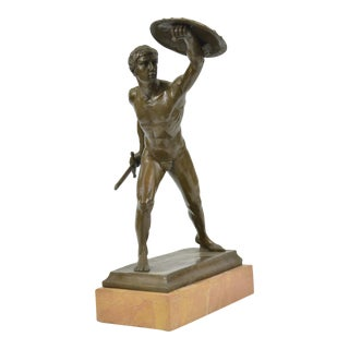 Roman Gladiator Bronze & Marble Statue