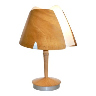 1970 French Vintage Birch Wood and Acrylic Table Lamp for Barcelona Hilton Hotel For Sale