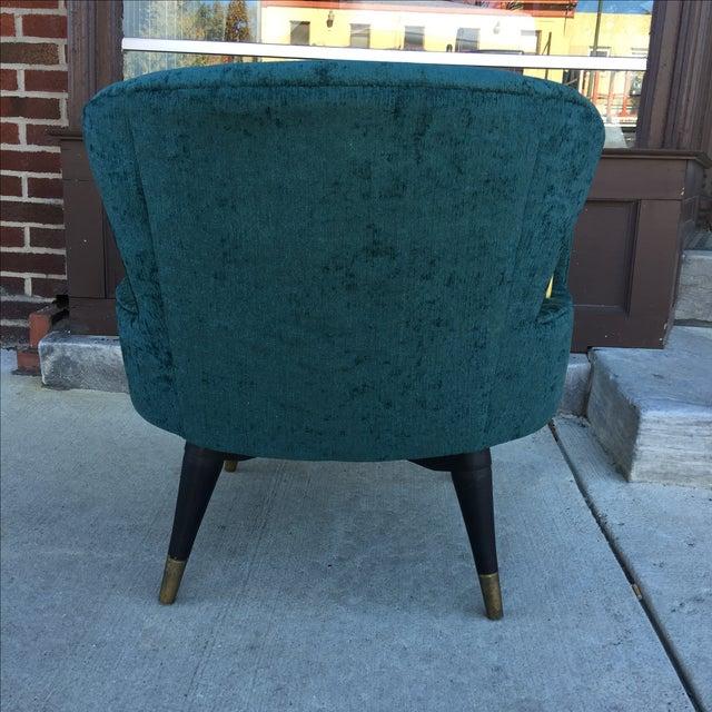 Mid-Century Green Velvet Brass Swivel Chair - Image 4 of 5