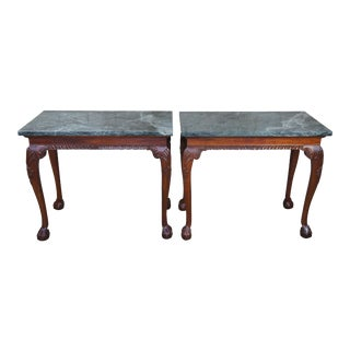Vintage Chippendale Style Mahogany Carved Marble Hall Console Tables - a Pair For Sale