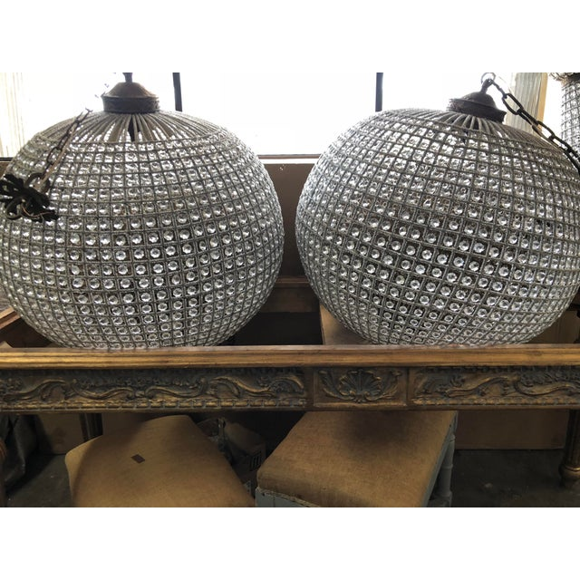 Extra large sphere chandelier with acanthus finial Details. Please contact me with your zip code for an economic white...