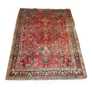 1920's Persian Sarouk Village Wool Rug - 3′6″ × 4′10″ For Sale