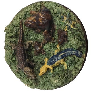 Late 19th-Early 20th Century Palissy Style Majolica Plate, Portuguese For Sale
