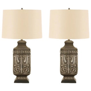 Spectacular Pair of Cast Asian Urn Lamps in Pewter For Sale