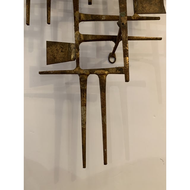 Metal Abstract Mid Century Modern Brass Wall Sculpture For Sale - Image 7 of 11