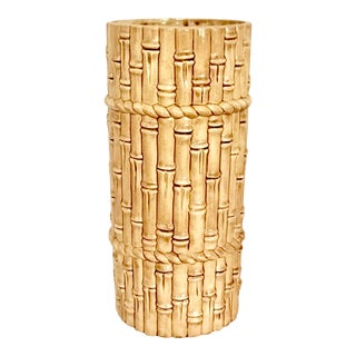 1980s Faux Bamboo Pottery Umbrella Stand For Sale