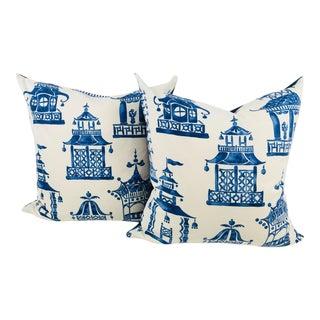 Blue & White Pagoda Cotton Print Pillows- a Pair