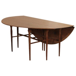 1960s Mid-Century Modern Walnut Drop-Leaf Dining Console Table For Sale