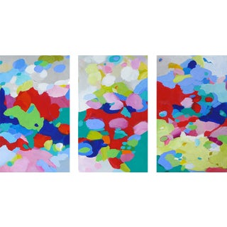 """Valerie Erichsen Thomson Original """"The Colors Join the Migration"""" Abstract Triptych Painting - 3 Pieces For Sale"""