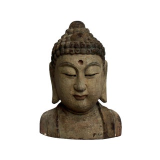Chinese Vintage Rustic Wooden Carved Buddha Head Statue For Sale