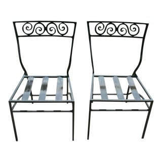 Early 20th Century Antique Art Deco Bistro Chairs Cast Aluminum - a Pair For Sale