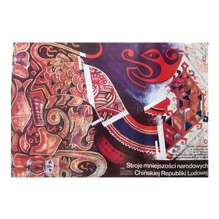 Original 1986 Polish Exhibition Poster, Chinese Costumes