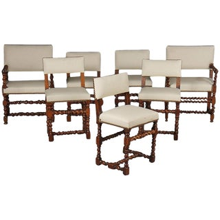 Early 20th Century Set of Twelve English Barley Twist Walnut Chairs For Sale