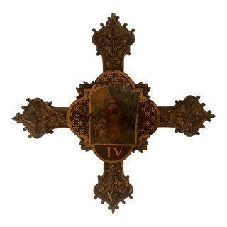 Antique French Bronze Station of the Cross Religious Icon For Sale