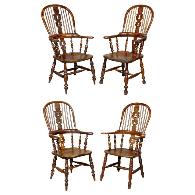 Set of Four Assembled Regency Yewwood Windsor Armchairs For Sale - Image 13 of 13