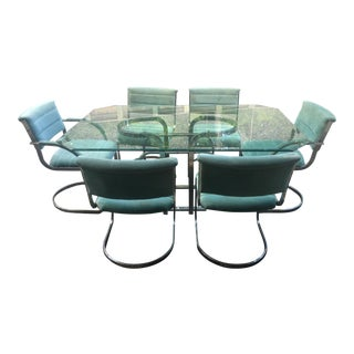 1980s Milo Baughman Style Dining Table & Cantilever Chairs - 7 Piece Set For Sale
